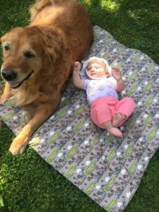 Bare Bums Creations baby blanket with dog