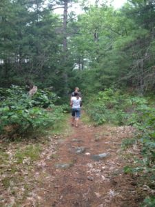 Walking through trails in wooded area