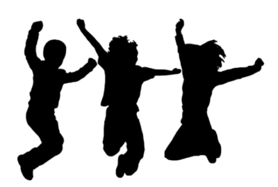Silhouette of three kids jumping